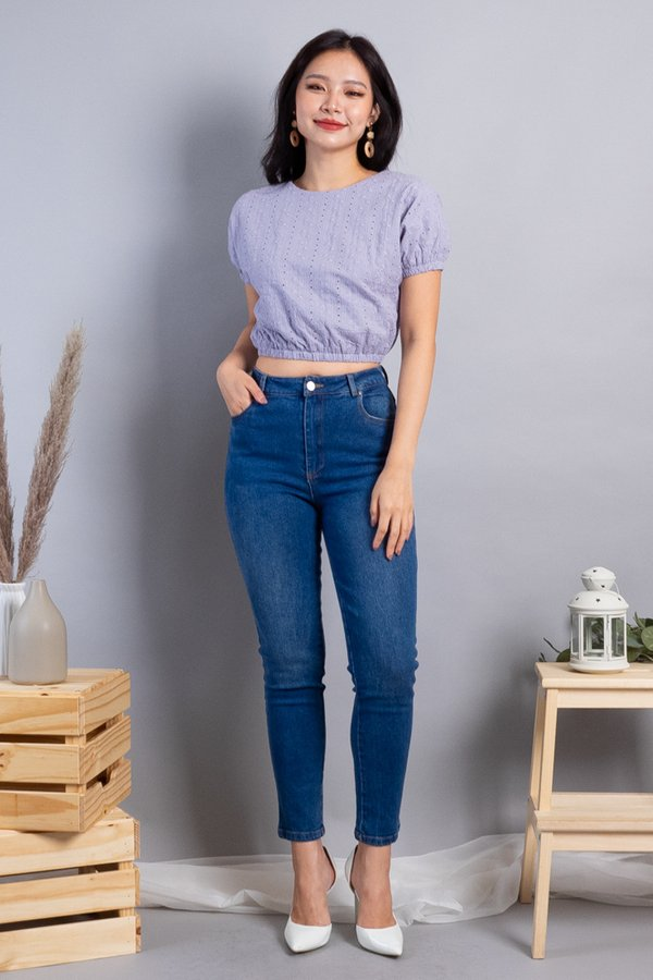 Abie Eyelet Bubble Top in Lilac Grey