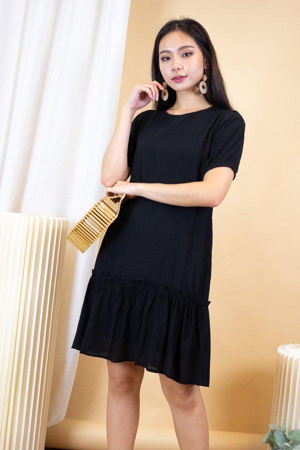 Ridley Crepe Drophem Dress in Black