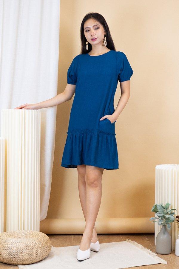 Ridley Crepe Drophem Dress in Teal Blue