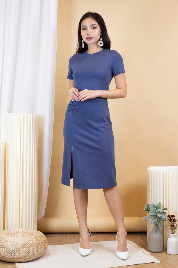 Shae Scrunch Slit Tshirt Dress in Steel Blue