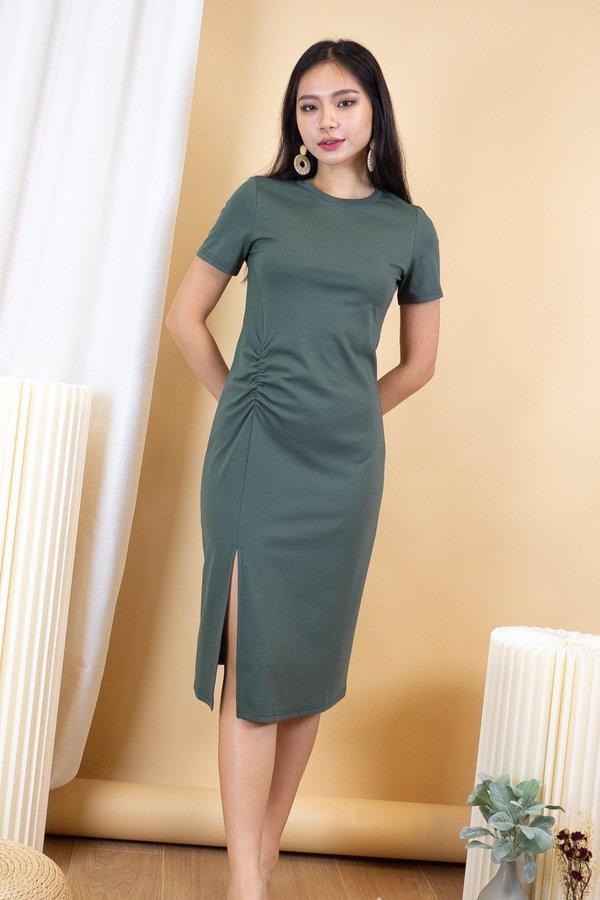 Shae Scrunch Slit Tshirt Dress in Fern Green